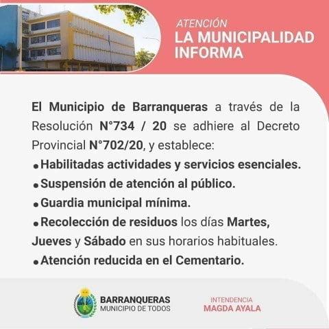 Barranqueras permitirá sólo el funcionamiento de actividades esenciales y se redujeron los días para la recolección de residuos