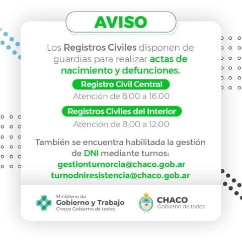 El Registro Civil trabaja con guardias mínimas para actas de nacimiento y defunción, DNI se gestiona por turnos