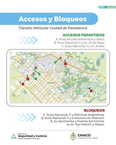 El Gobierno dispuso tres puntos de acceso a Resistencia y bloqueos en los restantes nueve