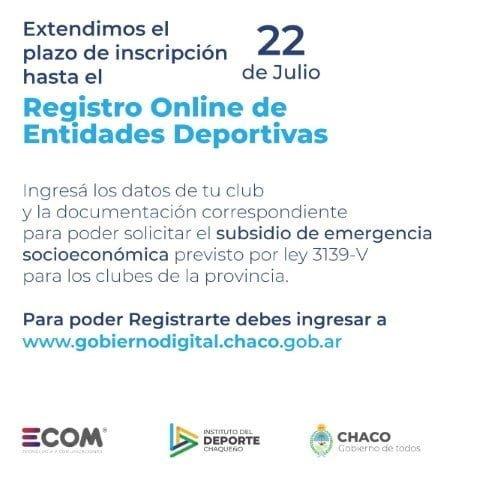 Prorrogan el plazo de inscripción al registro on line de entidades deportivas  para solicitar subsidio por emergencia económica