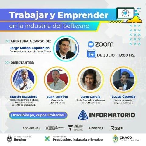 """Capitanich encabezará la apertura de la charla virtual """"Trabajar y emprender en la industria del software"""""""
