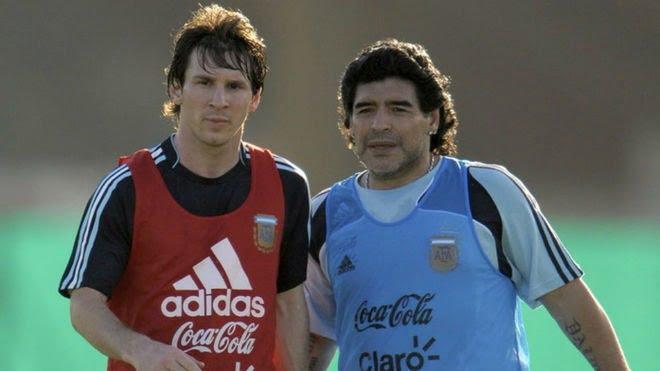 """Messi para Maradona: """"Te queremos ver bien lo antes posible"""""""