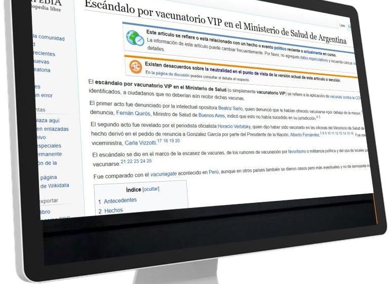 """La operación """"vacunatorios VIP"""" llegó a Wikipedia"""